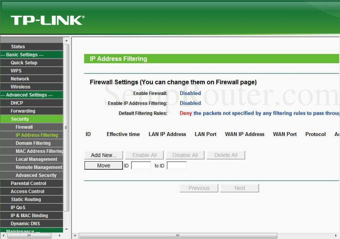 TP-Link TL-WR720N Screenshot IP Address Filtering