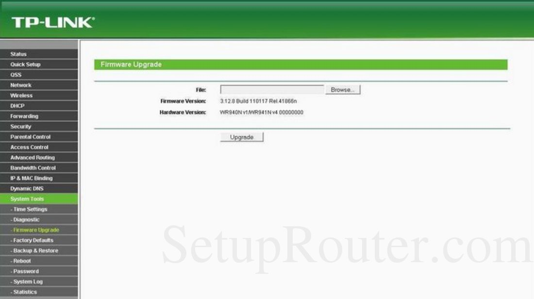 TP-Link TL-WR940N Screenshot System Tools Firmware Upgrade