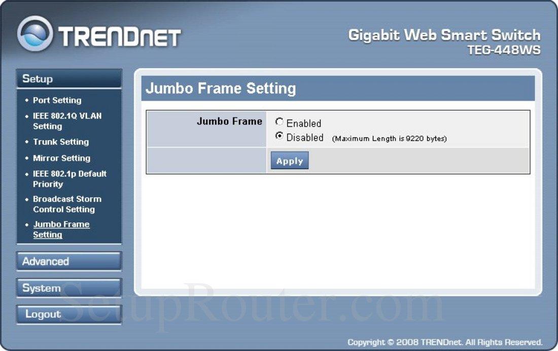TRENDnet TEG-448WS Screenshot Jumbo Frame Setting