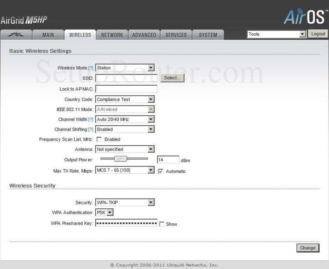 Ubiquiti AirOS-AirGrid-M5HP Screenshot Wireless