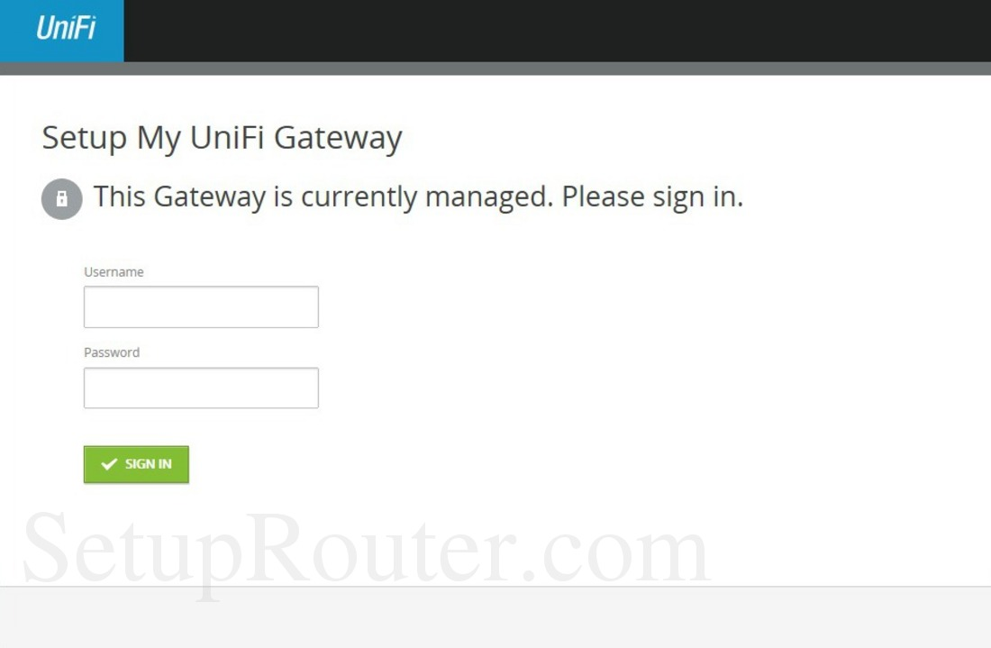 Ubiquiti UniFi Security Gateway Pro 4 Screenshot Login
