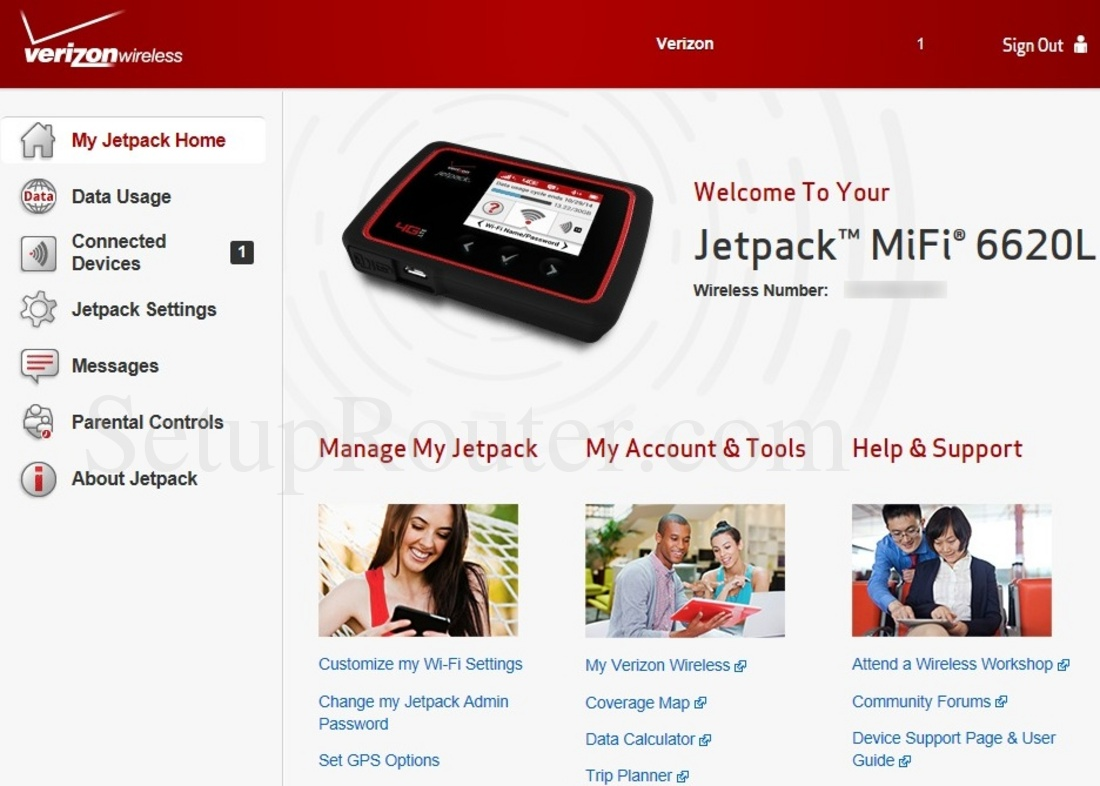 Keywords on The Verizon Jetpack MiFi 6620L MyJetpackHomeLoggedIn Screenshot