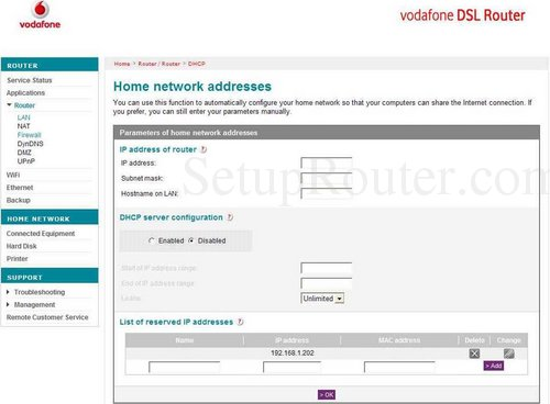 How to change the ip address of the Vodafone ARV4519PW