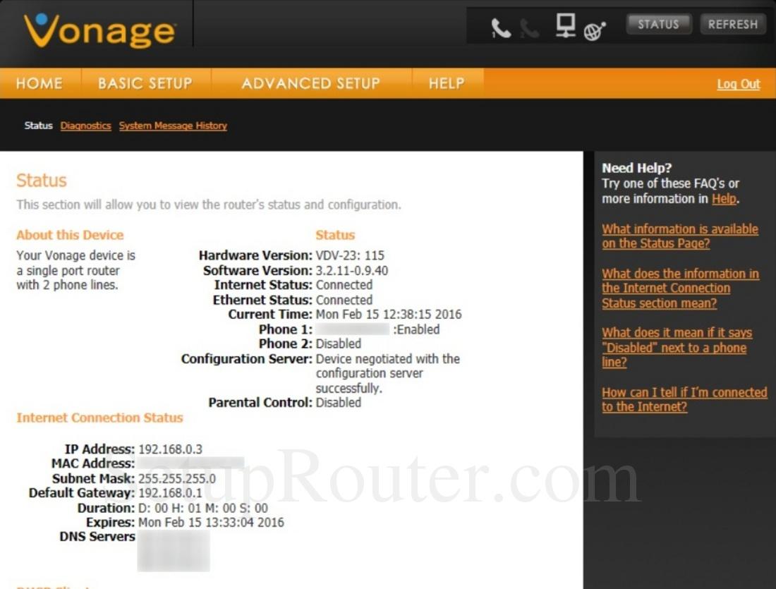 Vonage ip phone default password