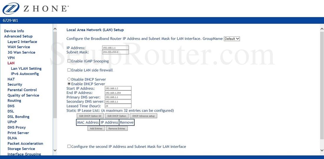 Zhone router 6729