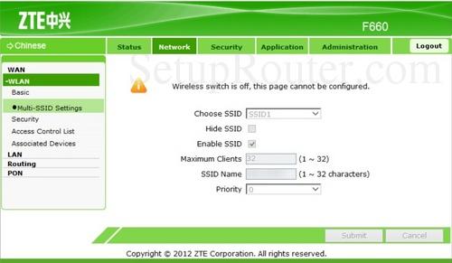 Setup WiFi on the ZTE F660