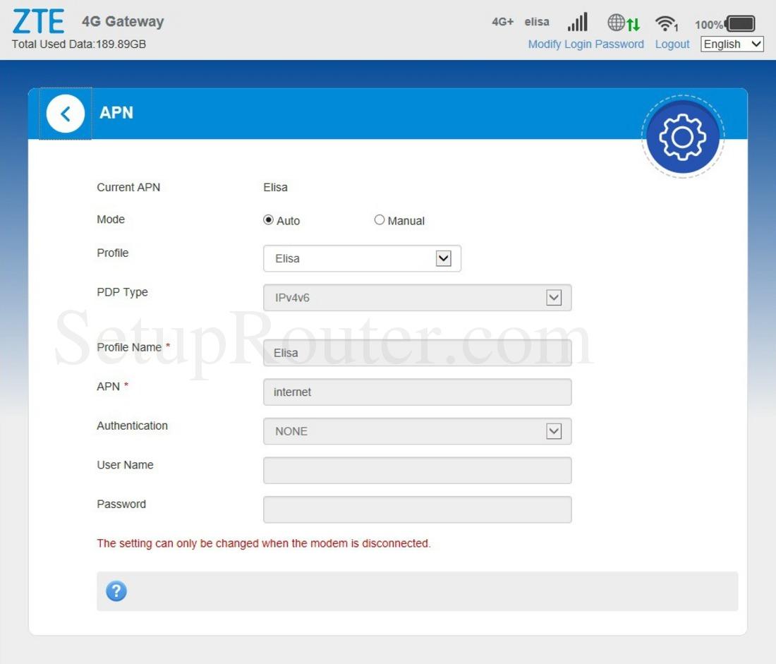 ZTE MF286 Screenshot APN