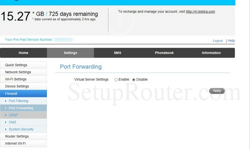far zte router port forwarding scrolling