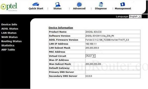 How to Login to the ZTE ZXDSL-831CII