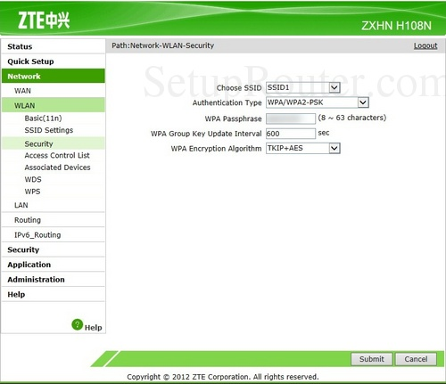 Setup WiFi on the ZTE ZXHN H108N