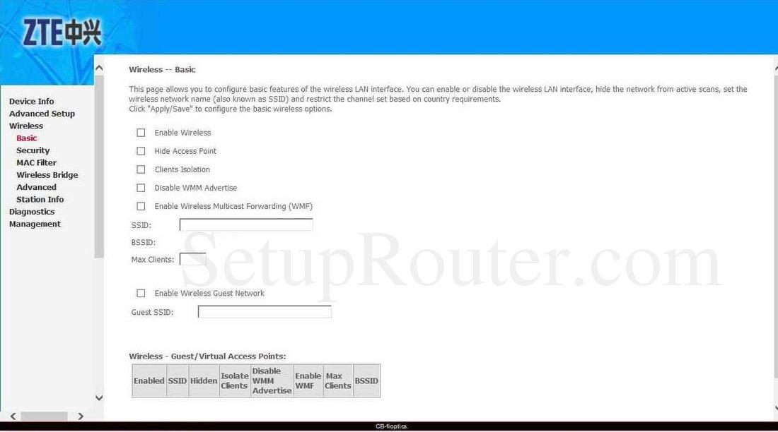 ZTE ZXHN H368C Screenshot WirelessBasic