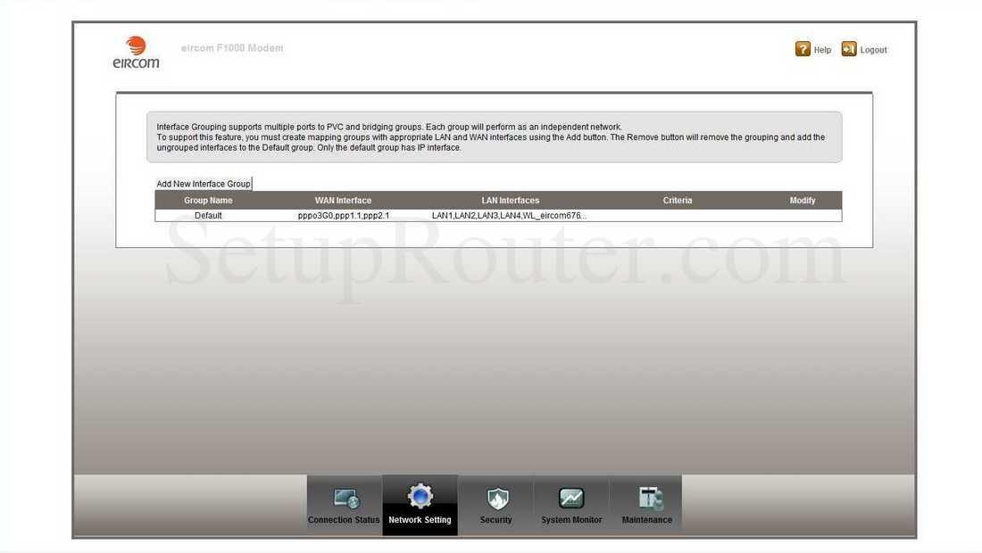 ZyXEL F1000 Screenshot InterfaceGrouping