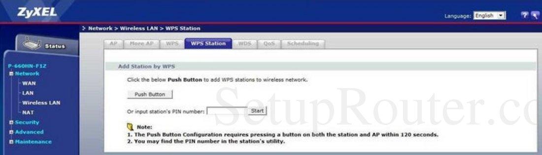 ZyXEL P-660HN-F1Z Screenshot Wireless LAN WPS Station