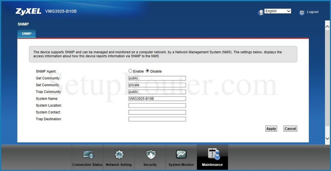 ZyXEL VMG3925-B10B Screenshot SNMP